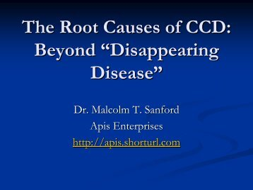 The Root Causes of CCD - Malcolm T. Sanford