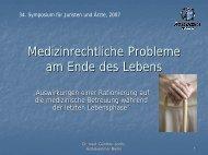 Medizinrechtliche Probleme am Ende des Lebens - Ärztekammer ...