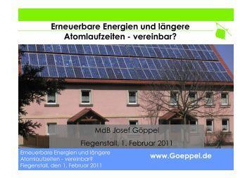 Erneuerbare Energien und längere Atomlaufzeiten - vereinbar?
