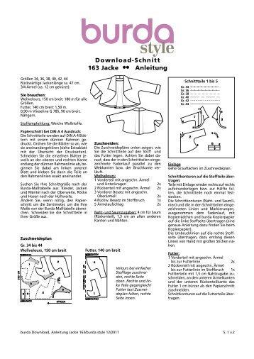 Download-Schnitt 163 Jacke  Anleitung - Burdastyle