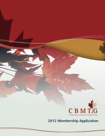 2012 Membership Application - CBMTG