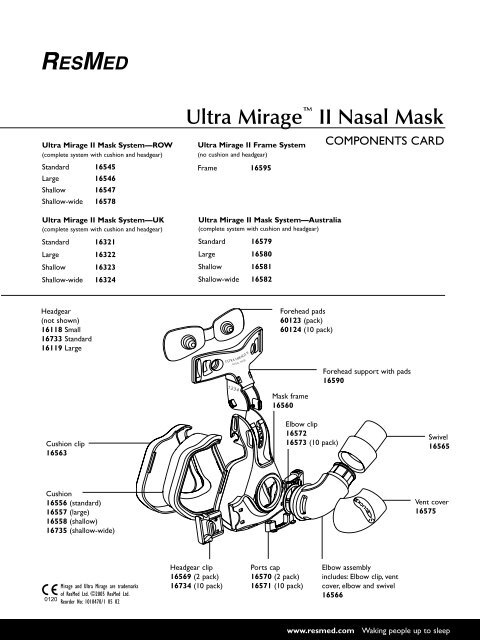 Ultra Mirage Nasal Mask Parts Diagram