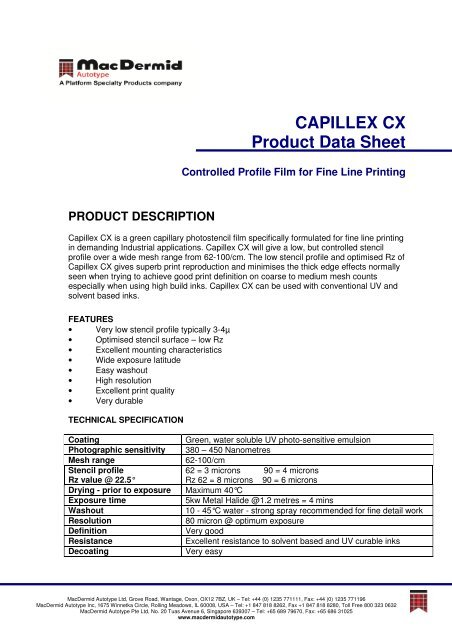 Capillex CX-PDS-English ( PDF) - MacDermid Autotype
