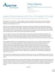 Apprise Software Named a 2013 Top 100 Logistics IT Provider