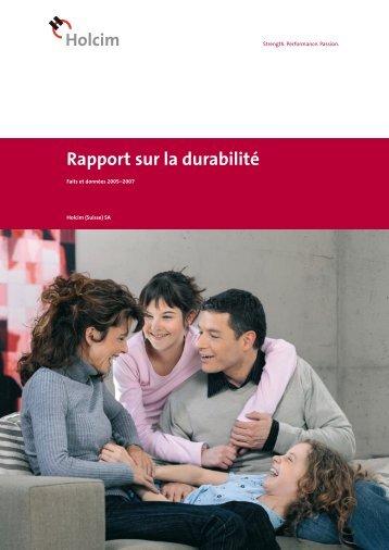 Rapport sur la durabilité - Holcim Schweiz
