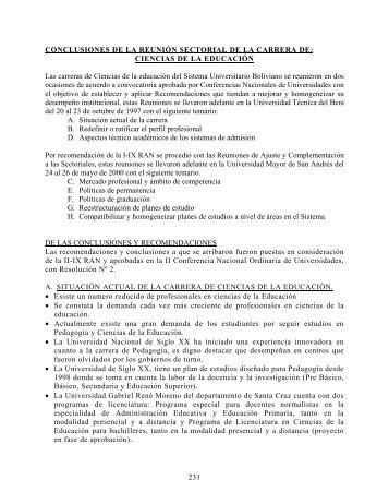 CIENCIAS DE LA EDUCACIÓN Las carreras de Ciencias de la ...