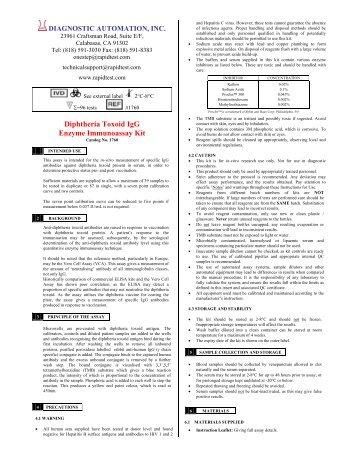 Diphtheria Toxoid IgG Enzyme Immunoassay Kit - Diagnostic ...