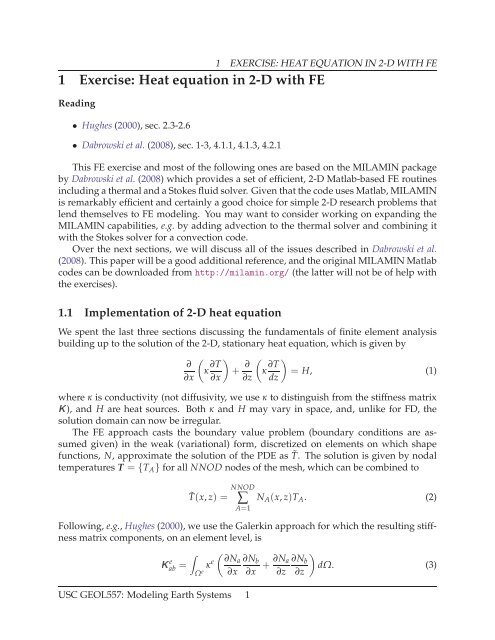 1 Exercise: Heat equation in 2-D with FE C - USC Geodynamics