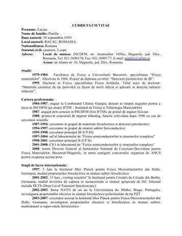 CURRICULUM VITAE Prenume: Lucian Nume de ... - HotNews.ro