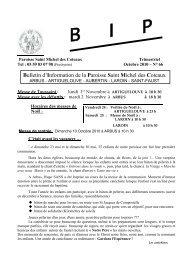 Bulletin d'Information de la Paroisse Saint Michel des Coteaux