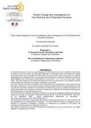 Charte d'usage @mel ouvert - Vice-rectorat de Polynésie française