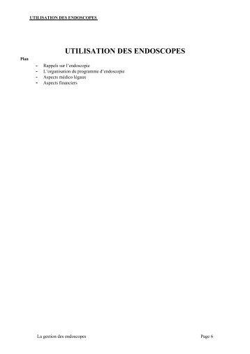 UTILISATION DES ENDOSCOPES - Journées Urologiques des Alpes