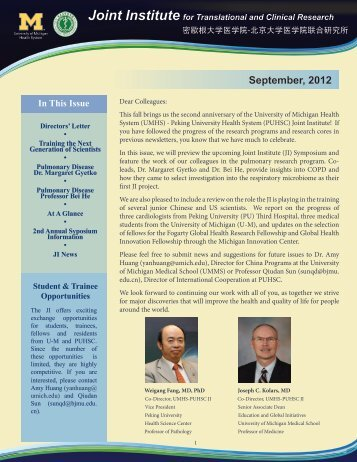 Read newsletter - UMHS/PUHSC - Joint Institute for Translational ...