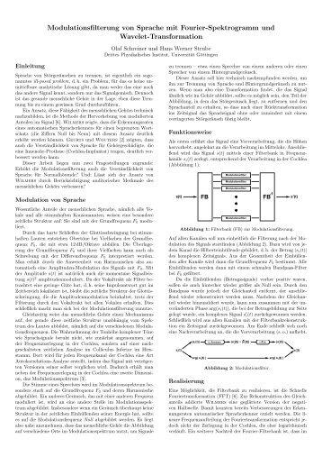 Modulationsfilterung von Sprache mit Fourier-Spektrogramm und ...