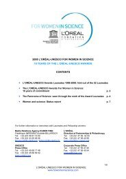 2008 L'ORÉAL-UNESCO FOR WOMEN IN SCIENCE 10 YEARS OF ...