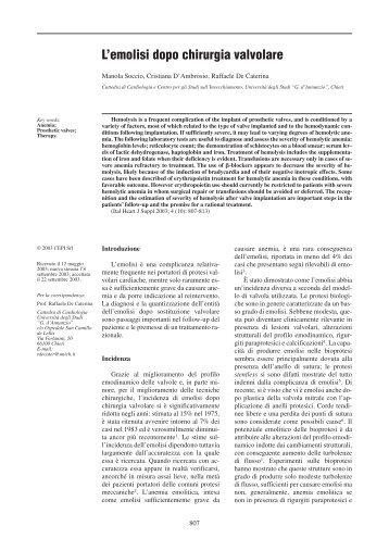 L'emolisi dopo chirurgia valvolare - Giornale Italiano di Cardiologia