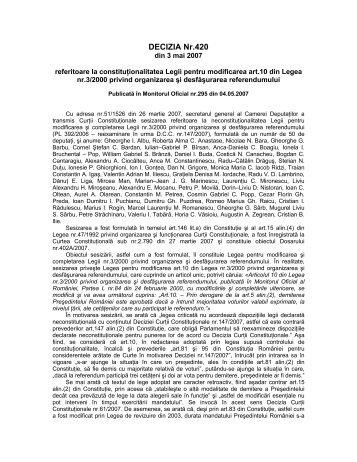 19. Decizia nr. 420 din data de 03.05.2007 - Curtea Constituţională ...