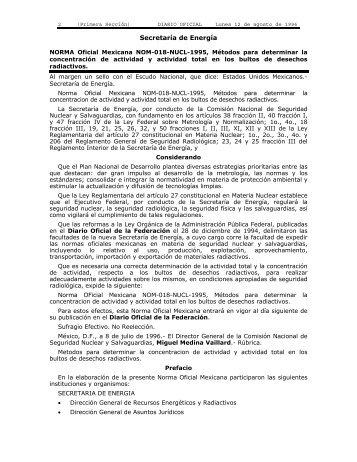 NORMA Oficial Mexicana NOM-018-NUCL-1995, Métodos para ...