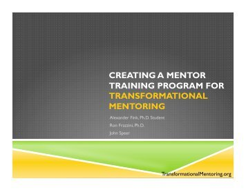 Creating a Mentor Training Program Presentation - Orientation and ...