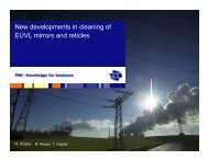 New developments in cleaning of EUVL mirrors and ... - Sematech