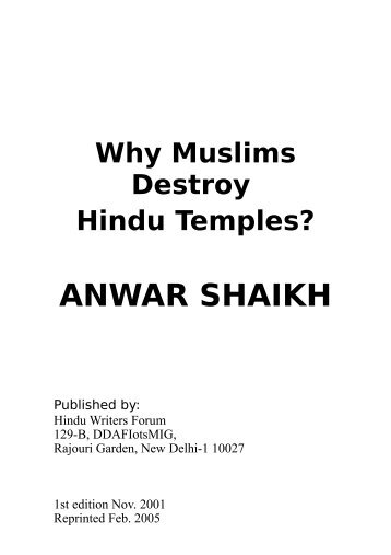 Why did the Muslims destroy Hindu temples