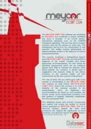 The MEYCOR COBIT CSA software was developed by DATASEC ...