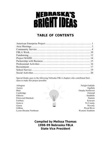 TABLE OF CONTENTS - Nebraska FBLA