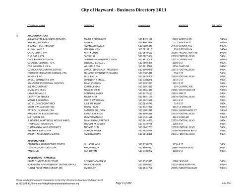 Business Directory 2011 3 Revised 62712xlsx City Of