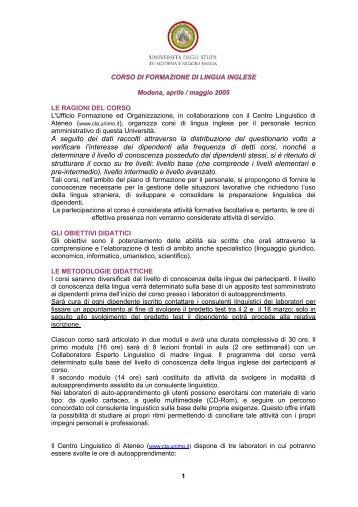 La qualità del servizio in ambito universitario - Centro Linguistico di ...