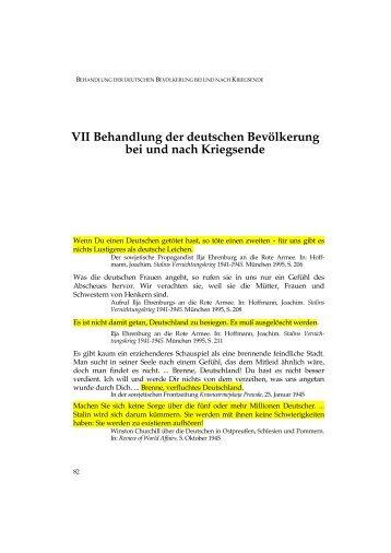 VII Behandlung der deutschen Bevölkerung bei und nach Kriegsende