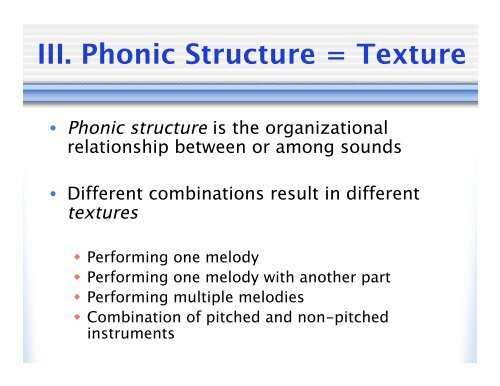 III  Phonic Structure = T