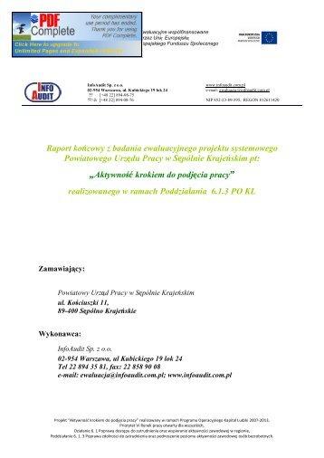 Raport z badania PUP Sępólno Krajeńskie - mojregion.eu