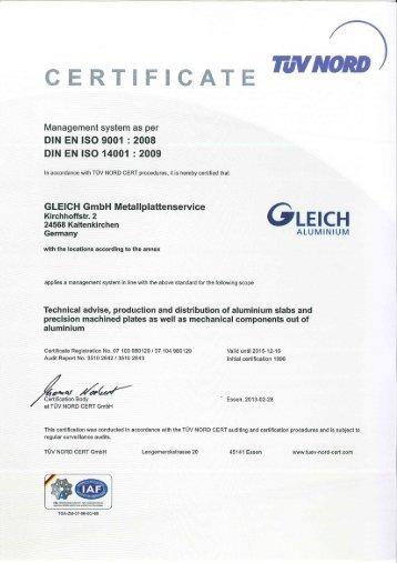 CERTIFICATE mvuom - GLEICH Aluminium