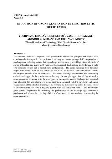 reduction of ozone generation in electrostatic precipitator ... - isesp
