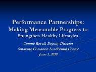 Performance Partnerships - Smoking Cessation Leadership Center