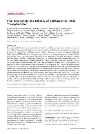 Five-Year Safety and Efficacy of Belatacept in Renal ... - ResearchGate