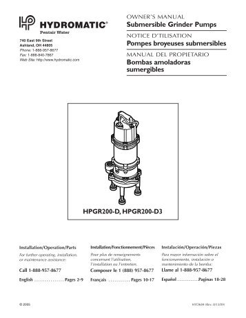 Submersible Grinder Pumps Pompes broyeuses ... - James Electric