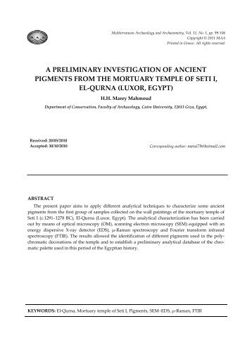 a preliminary investigation of ancient pigments from the mortuary ...