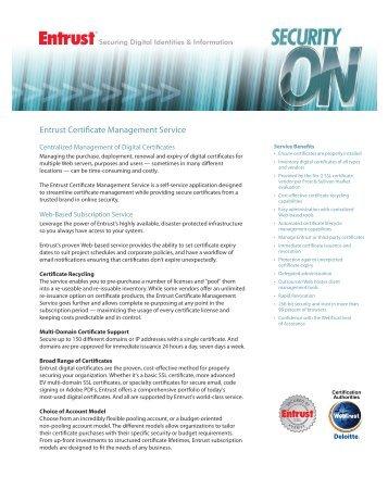 Entrust Certificate Management Service (CMS)