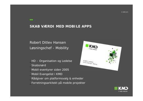 Robert Ditlev Hansen Løsningschef - Mobility SKAB VÆRDI MED ...