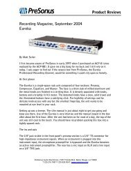 Product Reviews Recording Magazine, September 2004 ... - Audiolog