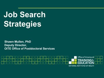 Job Search Strategies Slides - Office of Intramural Training ...