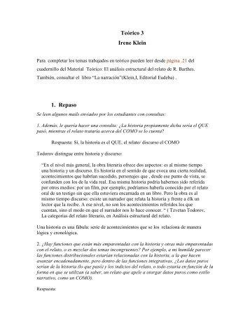 Teórico 3 Irene Klein 1. Repaso - Taller de Expresión I (Klein)