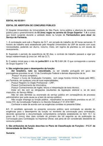 EDITAL HU 63/2011 EDITAL DE ABERTURA DE CONCURSO ...