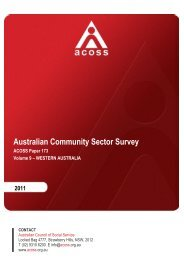 Australian Community Sector Survey Volume 9 WA