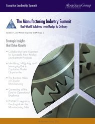 The Manufacturing Industry Summit - Summit - Aberdeen Group