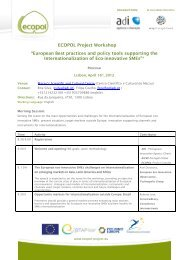 """ECOPOL Project Workshop """"European Best practices and ... - Adi"""