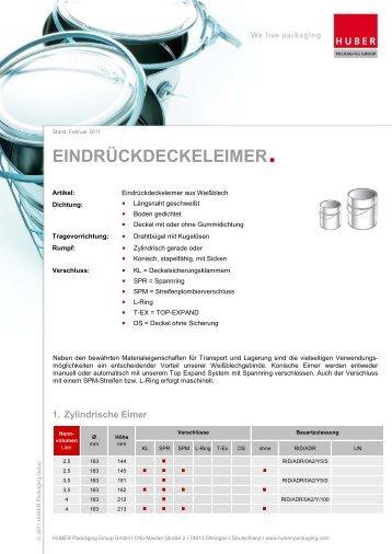 Eindrückdeckeleimer - HUBER Packaging Group