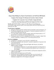 Burger King Holdings Inc. Reports Fourth Quarter and Full Fiscal 2009