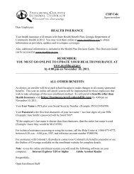 HEALTH INSURANCE - It works! - Paulding County Schools